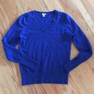 Halogen Royal Blue Cashmere V-neck Sweater
